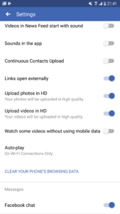facebook auto video downloads disable