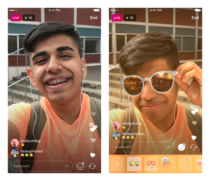 instagram update face filter live video