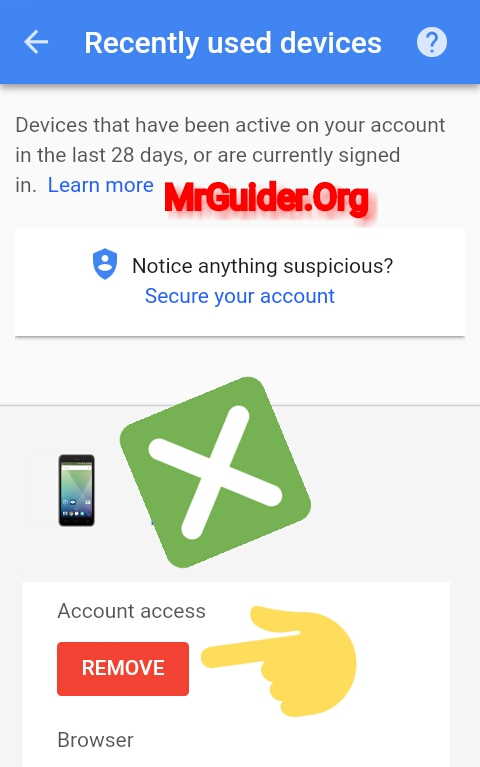 how to remotely remove google account from android phone