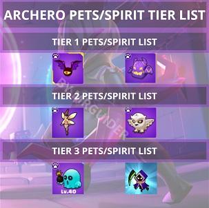 Archero Tier List Pets Spirits Tier List