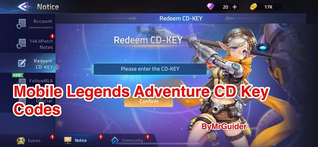 Mobile Legends Adventure CD Key Codes