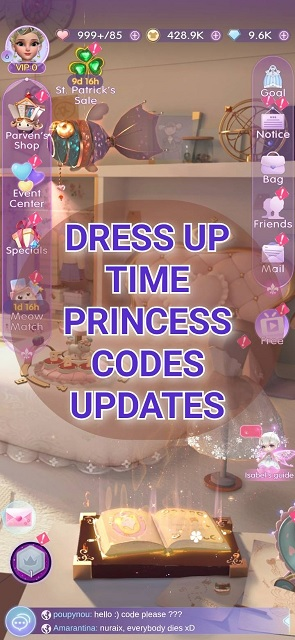 Dress Up Time Princess Codes