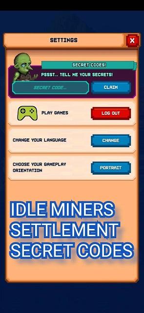 Idle Miners Settlement Secret Codes