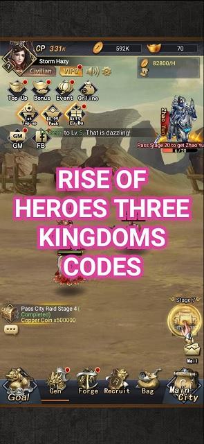 Rise of Heroes Three Kingdoms Codes
