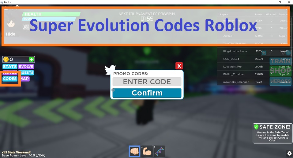 Super Evolution Codes Wiki Roblox