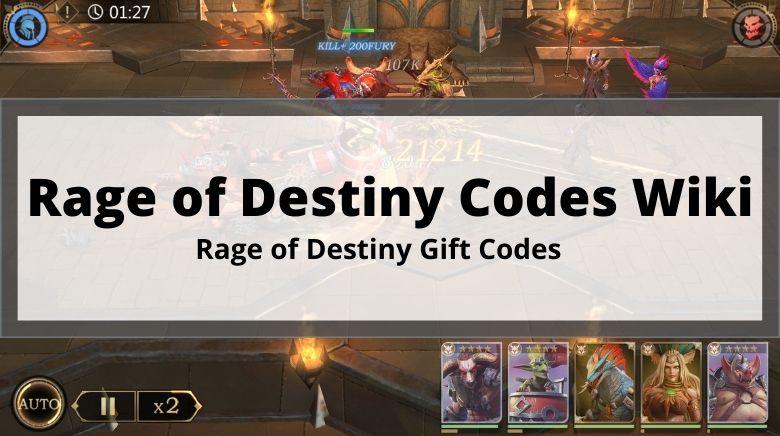 Rage of Destiny Codes Wiki